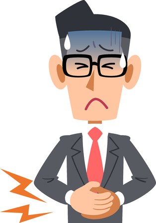 Office workers in suits men feeling bad abdominal pain glasses
