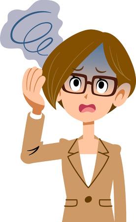 Working women wore suits of illness symptoms dizziness glasses
