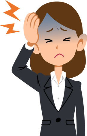 Symptoms headaches sick of working women wear suits Illustration