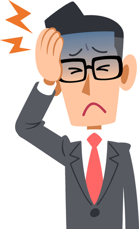 Office workers in suits men feel bad headache glasses Illustration
