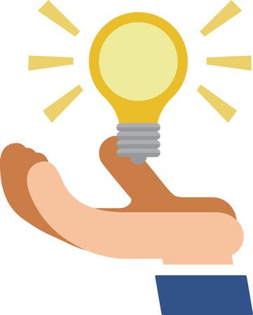 Light bulb shining on hand