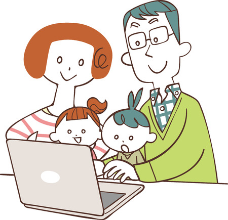 Family watching personal computer  イラスト・ベクター素材