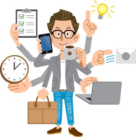 Creator-like men who perform multitasking Illustration