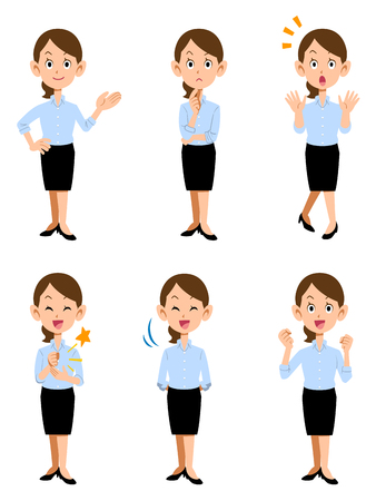 Women working in summer office, 6 different gestures and facial expressions Illusztráció