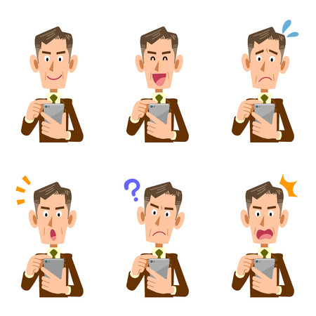 Illustration of middle-aged businessman who operates smartphone. 6 types of sets