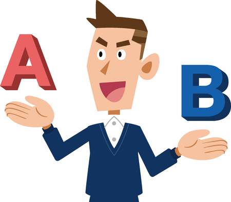 A young man who compares A and B and chooses