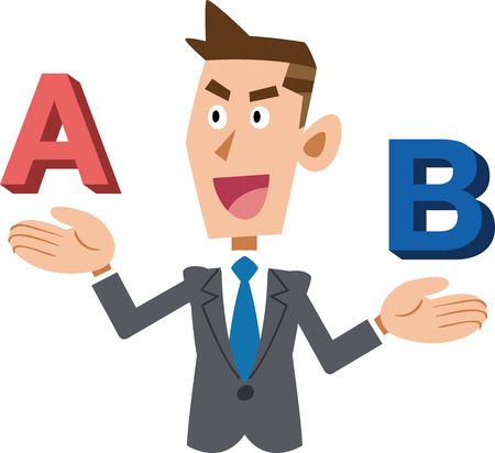 A young businessman who compares A and B and chooses A