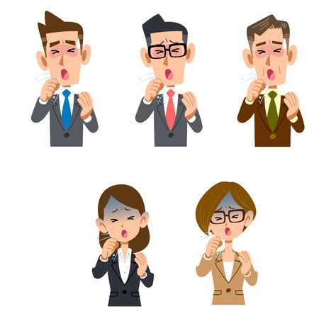 Male and female office worker of a coughing company worker