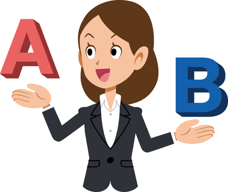 A female business person who compares A and B and selects A