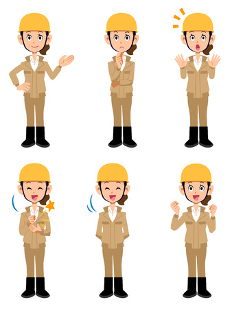 Female beige working at the construction site Work clothes 6 types of pose set 2
