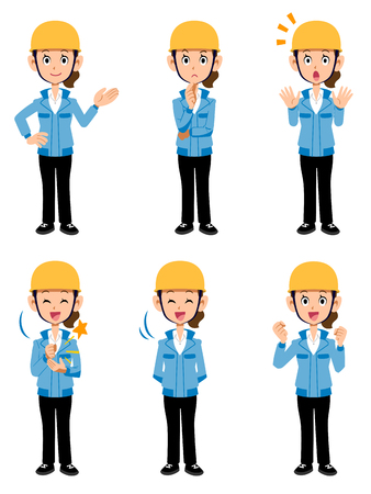 Women working at construction site Blue Jacket 6 different pose sets 2