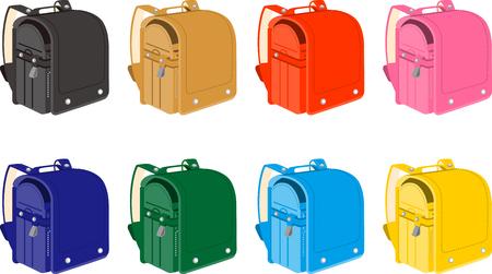 School bags of various colors in Japan for elementary school students