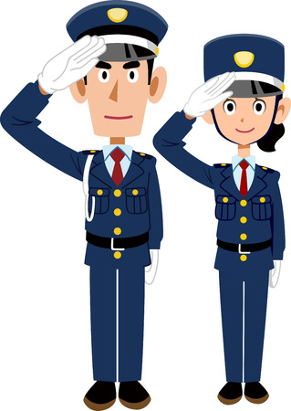 A man and a woman of a Japanese guard to salute