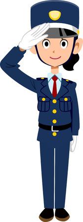 A guard man of saluting Japanese women  イラスト・ベクター素材