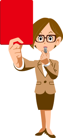 Female employees and red cards Vector Illustration