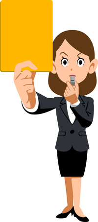 Female employees and yellow cards Illustration