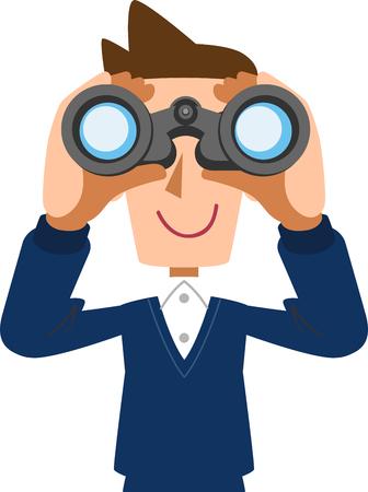Male husband father peering into binoculars