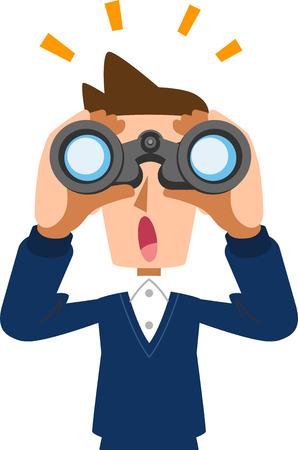 Padre marido hombre asomando por los prismáticos y notando algo Ilustración de vector