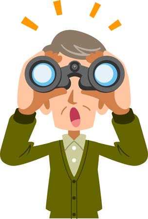 Senior man looking into binoculars and noticing something Illusztráció