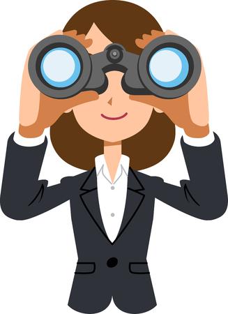 Arbeitende weibliche Geschäftsfrau, die in Ferngläser schaut