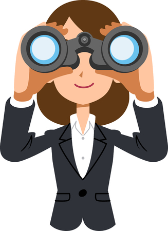 Working female business woman looking into binoculars