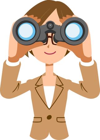 Donna di affari femminile di lavoro che esamina il binocolo