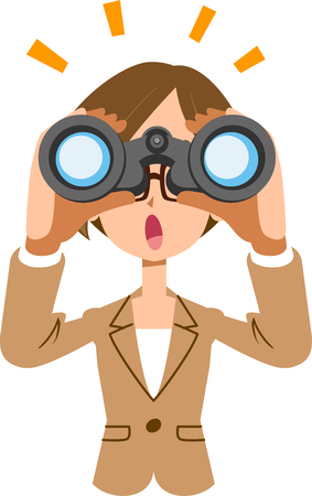 Working female business woman looking into binoculars and noticing something