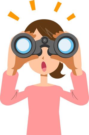 Una giovane donna che guarda nel binocolo e nota qualcosa Vettoriali