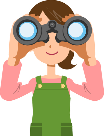 A woman housewife looking into binoculars