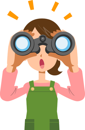 A woman housewife looking into binoculars and noticing something