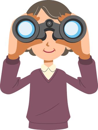 Senior woman looking into binoculars