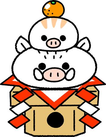 New Year's card material _ Parent-child of wild boar type wild boar Foto de archivo - 104517845