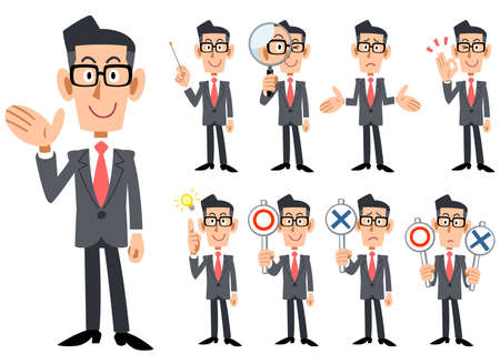 Gestures and expressions of glasses-worn businessmen wearing red tie and gray suit