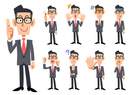 Red Necktie and gray suits wearing eyeglasses businessman's gestures and expression