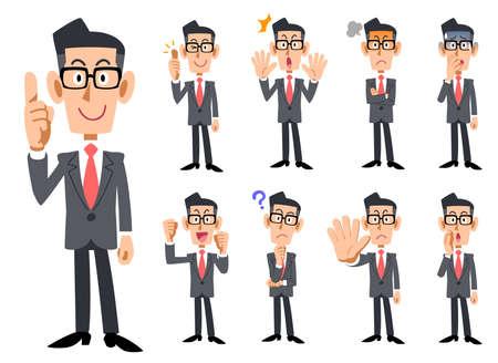 Cravatta rossa e abiti grigi che indossano i gesti e l'espressione dell'uomo d'affari degli occhiali
