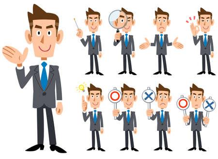 Blauwe stropdas en grijs pak met gebaren en expressie van de zakenman