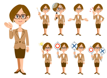 Working women with eyeglasses 9 gestures and expressions _ whole body