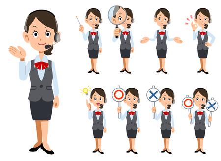 Nove espressioni facciali e gesti di operatori femminili che indossano un auricolare _ tutto il corpo Vettoriali