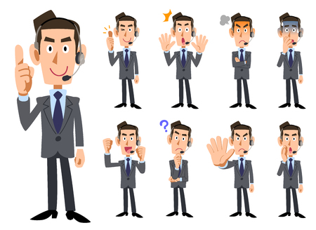Nine types of facial expressions and gestures of male operators wearing a headset _ Full body