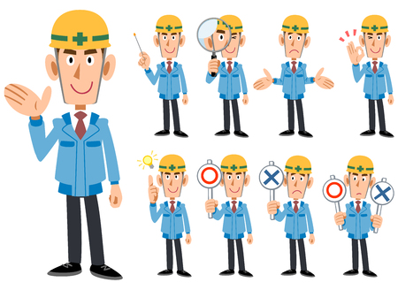 Construction Industry _ Men in blue working clothes _ 9 types of poses set Stock Vector - 105075149