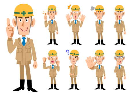 Construction industry _ Men in beige colored work clothes _ 9 types of poses set Vectores