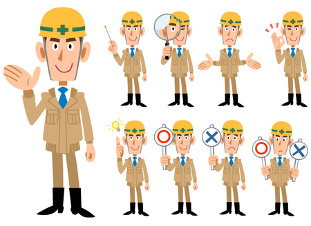 Construction industry _ Men in beige colored work clothes _ 9 types of poses set  イラスト・ベクター素材