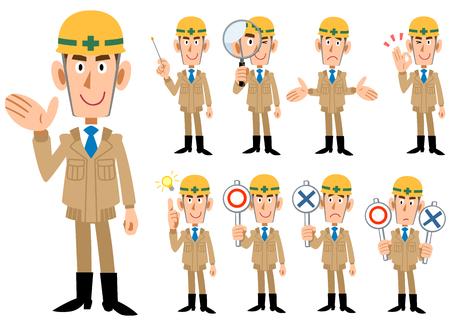 Industria edile _ Uomini in abiti da lavoro di colore beige _ 9 tipi di pose impostate