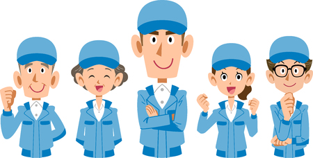 Team staff team of Blue Uniform  Upper body Illustration