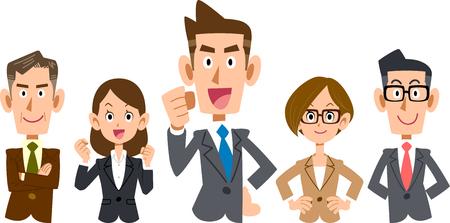 Il team aziendale si è concentrato sulla parte superiore del corpo dei giovani dipendenti Vettoriali