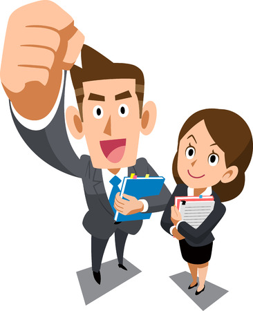Male and female young businessperson of positive image _ Overhead view Imagens - 114736634