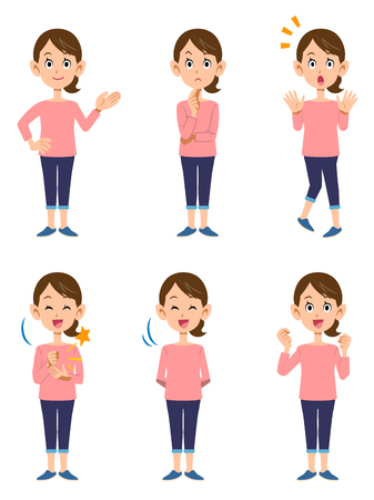 Women wearing pink cuts _ 6 types of gestures and facial expressions Stockfoto - 114736636