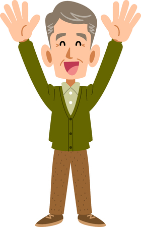 Elderly man who is happy to raise both hands