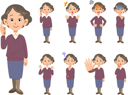 Elderly female facial expression and pose set 9 type