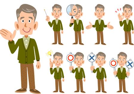 Homme âgé Homme expression et pose ensemble 9 types Vecteurs